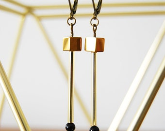 Prism Cube earrings / hand made / gold hematite / japanese minimalist / beaded earrings / crystal earrings / swarovski crystal
