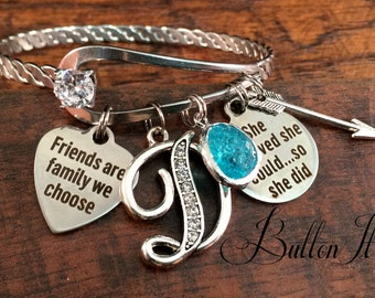 Best FRIEND Gift, friend birthday gift, friendship bracelet, accomplishment, bangle, Live Laugh Love, She believed she could, Initial