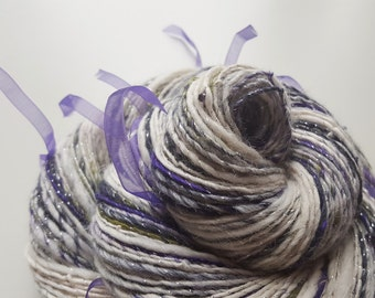 Handspun Winter Art Yarn - SNOWY LAVENDER - Soft, Fluffy, Lively. White, Purple, Green, Grey. Silk, Merino Wool, Alpaca, Ribbon, Glass Beads