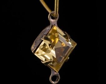Rauchtopas Square Glass Stones 2 Loop Brass Ox Setting 8mm (6) squ017NN2