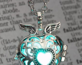 Glowing Pendant Winged Heart Locket with Teal Aqua glowing Orb Lovely Valentine Gift for Her LED jewelry