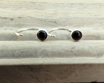 Dainty Black Stud Earrings - Tiny Black Onyx Stud Endless Earrings - Ear Hugger Hoop Earrings - Sleeper Earrings 3mm or 4mm - Gift under 20