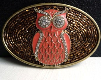 Coral Owl Belt Buckle for Women- Sparkly Rhinestones- Bronze Brown Beads- Antique Gold Buckle- Custom Belt Buckle - Unique Gift Idea for Her
