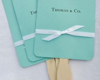 Aqua Wedding Fans | Aqua Wedding | Wedding Fans | Blue Wedding Fans | Fans for Tiffany and Kyle | Wedding Favor Fans