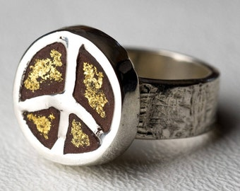 Peace Sign Ring Concrete Round Sterling Silver  Gold Peace Boho Hippie Chic One Of A Kind