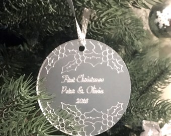 Personalized Christmas Ornament, Silver, Couple's First Christmas, Holiday Ornament, Holly Decoration, Christmas Tree, Mirrored Acrylic