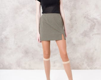 90S PLAID MINI SKIRT vintage women Express spring summer Short stretchy Small / size 5 6 / 27 waist / better Stay together