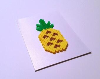 Pineapple of My Eye - Perler Fuse Bead Greeting Card - Birthday Wishes - Love Note - Food - Fruit - Foodie - Tropical