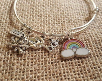 I Love Camping, Childhood Cancer Camp Support Bracelet, Camp Fire, Rainbow, Hope, Peace and Love.