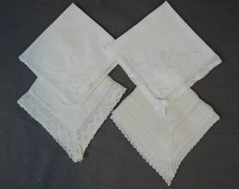 4 Vintage Hankies Lace and Crochet Edges,  Hankie Lot Handmade 1940s, Wedding Hankies