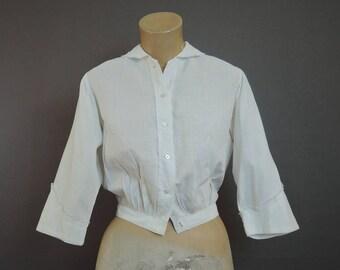 Vintage Edwardian Blouse, 33 bust, White Cotton Grid Plaid, Antique 1900s Small Blouse
