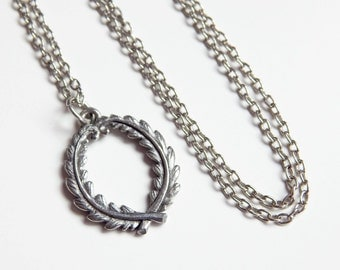 Laura - laurel wreath Necklace in Pewter - Graduation gift for her - silver wreath necklace - antique silver - olympic wreath