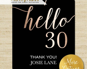 Milestone Party Favor Tags, Rose Gold Foil Hello 40 Gift Tags with Bakers Twine, Eco Friendly, 30th, 40th, 50th, 60th Birthday