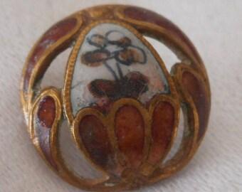 ANTIQUE Flower Enamel Pierced Metal BUTTON