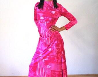 Anne Fogarty 70s Pink Maxi Dress, Mod Designer Dress, 1970s Mod Dress, Psychedelic Maxi Dress, Designer Vintage Pink Dress M