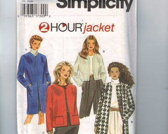 1990s Misses Sewing Pattern Simplicity 9824 Misses Two Hour Jacket Boxy Short Collarless Size 6 8 10 Bust 30 31 32 33 UNCUT 1997 90s