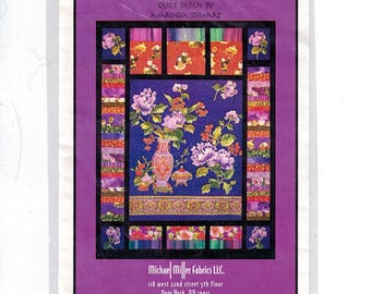 Craft Sewing Pattern Michael Miller Fabrics Purple Peonies Flowers Floral Quilt 50x50 Finished Size Marinda Stewart Quilting Pattern UNCUT