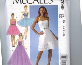 Misses Sewing Pattern McCalls M7049 7049 Misses Party Dress Sweetheart Neckline Prom Tulle Skirt Formal Size 6 8 10 12 14 UNCUT