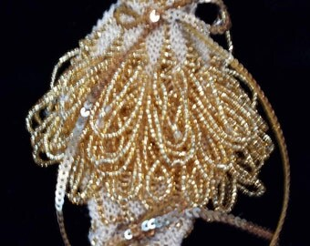 Ecru and gold bead knitted pendant or amulet bag