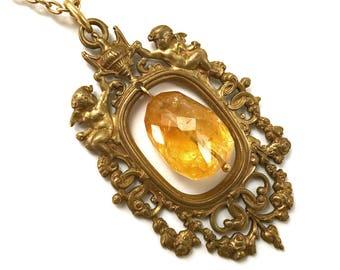 Citrine nugget pendant necklace in ornate vintage frame