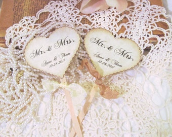 Wedding Hearts Cupcake Toppers w/ribbons -  Mr. & Mrs. - Customized Party Picks - Set of 12 - Choose Ribbons - Rustic Vintage