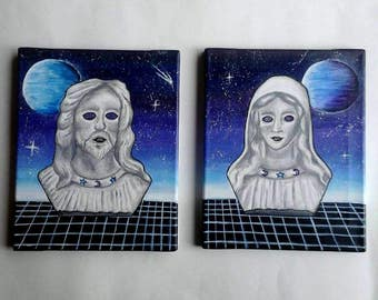 Vaporwave Jesus and Mary Outer Space Spooky Cosmic Original Paintings (Set of 2)