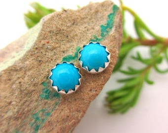 Sleeping Beauty Turquoise Cabochon Studs, 14k Gold Stud Earrings or Sterling Silver Studs - 4mm, 6mm Low Profile Serrated or Crown Earrings