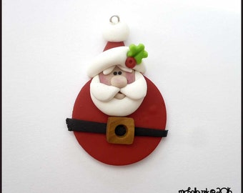 SALE Round Santa Claus Polymer Clay Charm Pendant