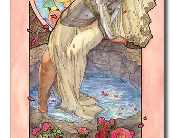 Art Print Lady of June with Roses Bride by the Well Goddess Birth Flower Goddess Sun Wheel Mucha Inspired Art Nouveau Painting