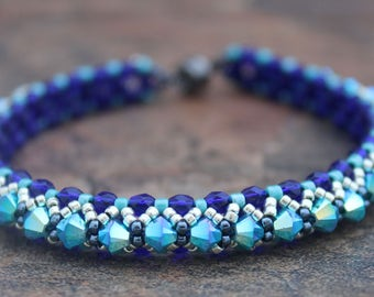 Swarovski Crystal Tennis Bracelet in Cobalt and Turquoise