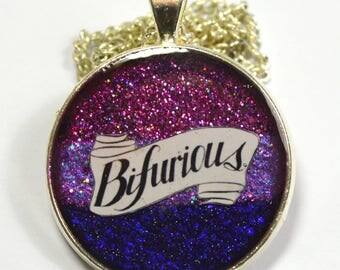 Bifurious Bi Queer Glitter Resin Pendant