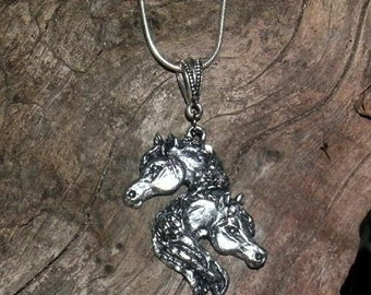 Elegant Double Horse Head Pendant on Chain