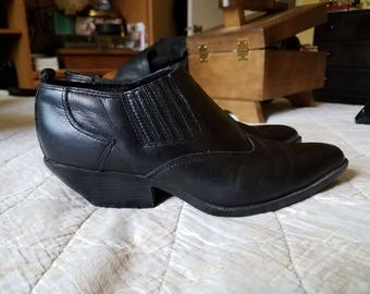 Black Leather ZODIAC Western Ankle Booties 7