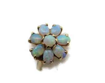 Opal Ring - 14k Gold Opal Ring - Antique Genuine Opal Engagement Statement Cluster Ring