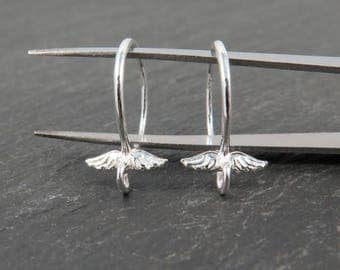 Sterling Silver Round Angel Wings Ear Wire ~ PAIR (CG8970)