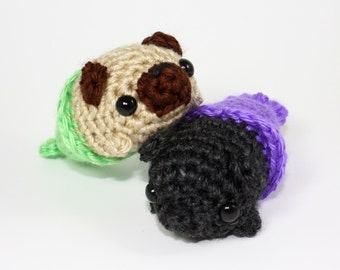 Custom Crocheted Merpug Amigurumi Plushie - Mini Pug Dog Mermaid Plushie - Choose your Own Color - MADE TO ORDER