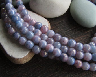 Small purple blue pink Czech beads, 4mm round druk czech glass beads, small spacer, opaque glossy tone 4mm / 50  beads  6AZ033