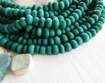green rondelle  bone beads, size and shape variation, natural Irregular look , ethnic boho style, 7mm to 10mm dia (30 beads) 6DB9-3