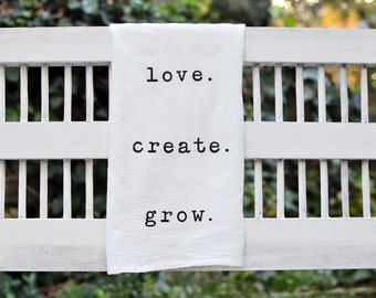 Words Cute Flour Sack Kitchen Tea Towel, Cotton Dish Towel, Home Decor, Housewarming Gift, Inspirational