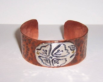 Hammered Copper With Fine Silver Stamped Flower Riveted Cuff Bracelet