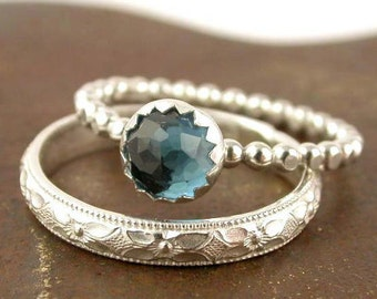 London Blue Topaz Stacking Ring Set - 2 Rings - Sterling Silver - Engagement Ring - Made to Order