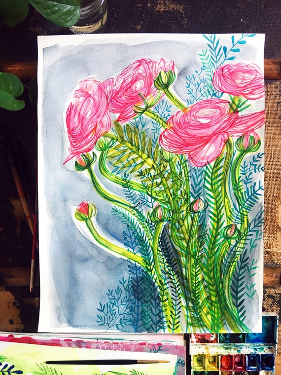 Original watercolor and ink painting on paper Bloom artwork by Paula Mills