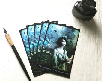 "SET OF 5 POSTCARDS - ""It's Only The Moon, Dear"" 4 x 6 postcards, post cards, fantasy, moon, melancholy, dark, vintage, night, woman"