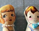 CUSTOM ORDER  for Jennifer Thompson Set of 2 Small cloth Dolls