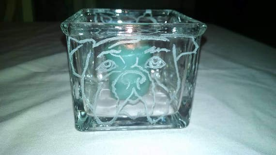 Etched Glass Puppy Dog Faces Candle Holder Qtip Cotton Balls Small Items Boys Nursery Baby Shower Mom Sister Friend Bathroom Accessory