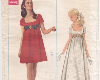 Vintage Pattern Butterick 4924 Evening Dress in Two Lengths  60s Size 12 B34