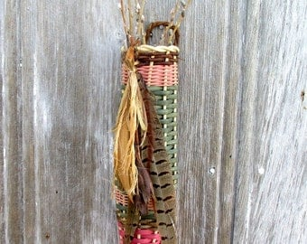 Natural Wall Pocket Basket with Pheasant Feather Embellishments  by Marcia Whitt