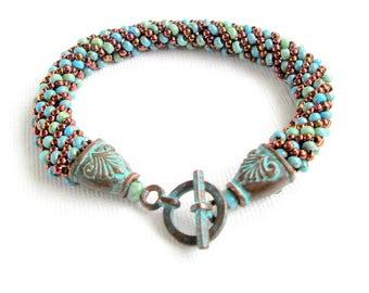blue patina beaded bracelet seed bead bracelet multicolored bracelet boho bracelet beaded jewelry patina jewelry