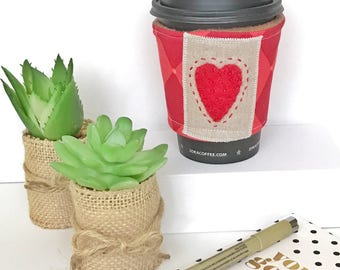 Coffee Cozy Sleeve - Hearts on Your Sleeve (Red)