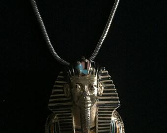 Enamel king tut etsy rare signed eisenberg vintage egyptian revival king tut pharaoh pendant necklace aloadofball Gallery